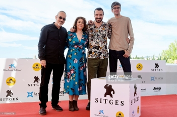 SITGES, SPAIN - OCTOBER 07: Director Oscar Martin, producer Elena Muñoz and actors David Pareja and Javier Botet during photocall of 'Amigo' on October 07, 2019 in Sitges, Spain. (Photo by Borja B. Hojas/Getty Images)